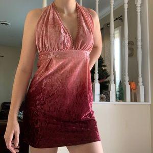 Halter Ombré Maroon Velvet Dress NWT